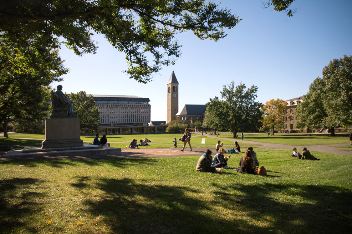 A photo of the Cornell University campus with students sitting on the lawn.